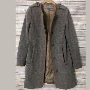 Zara Basic Sz S brown wool blend coat